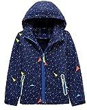 Hotmiss Boys Girls Outdoor Waterproof Hooded Jackets Cotton Lined Windproof Rain Jackets (Dark Blue, 10/12)