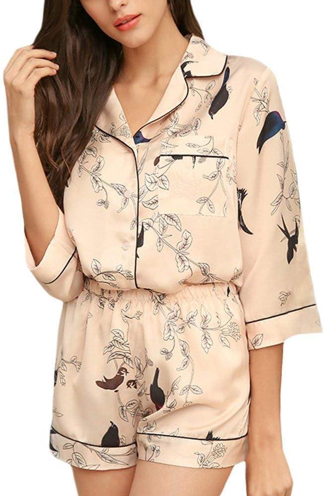 Mujer Conjunto De Pijama Estampadas Patrón Verano Pijamas Mujer Manga Corta De Solapa Elastische Taille con Bolsillos Camisas Ropa Pantalones De Pijama (Color : Aprikose, Size : M): Amazon.es: Ropa y accesorios