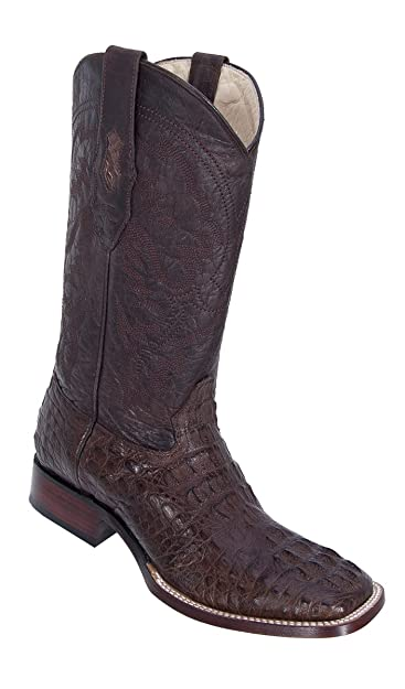 Genuine CROCODILE HORNBACK BROWN WIDE SQUARE Toe Los Altos Men's Western Cowboy Boot 8220207