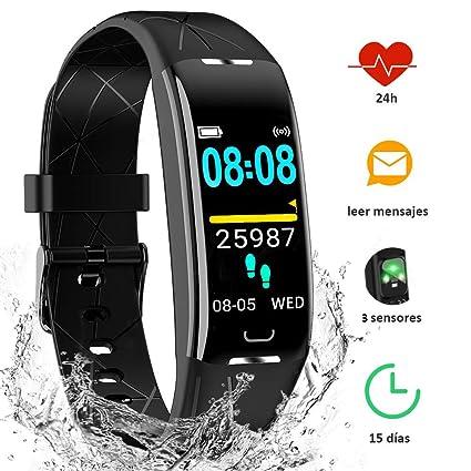 Yiyou Pulsera Actividad Inteligente Impermeable IP68, Monitor Ritmo Cardíaco y Sueño 7 Modos de Deporte, Leer Mensajes, Reloj Inteligente para Mujer ...