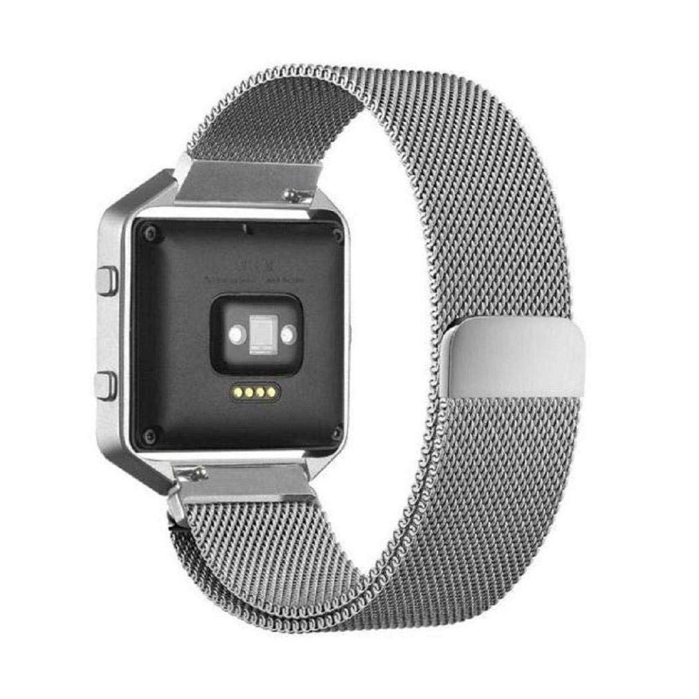 Fashion Clearance! Noopvan Fitbit Blaze Strap,Milanese Loop Stailess Steel Bracelet Strap with Metal Frame Smart Fitness Watch, Fitbit Blaze Replacement Band with Unique Magnet Lock (Silver) by Noopvan Strap (Image #3)