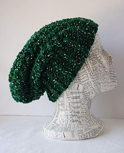 Green Knit Beanie Flecked Moss Stitch Slouch Hat Size L XL