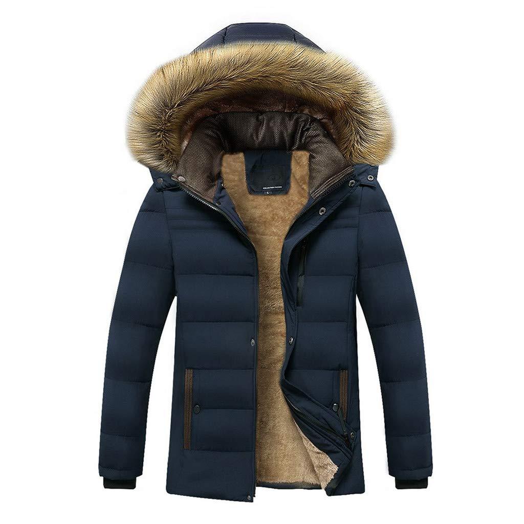 Mymyguoe Chaqueta de Otoñ o Invierno para Hombre, Espesar Felpa Calentar Exterior Chaqueta con Capucha Engrosada cá lida Fleece Abrigo Blusa Superior Outwear
