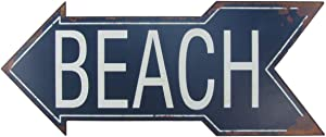 Treasure Gurus Large Metal to The Beach Arrow Tin Metal Sign Nautical Seaside House FL Coastal Home Decor