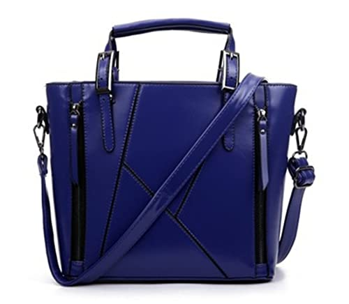 Luckywe Cuero mujer bolsas asa superior bolso carteras Costura de la cremallera diseñador bolsos A69 Azul: Amazon.es: Zapatos y complementos