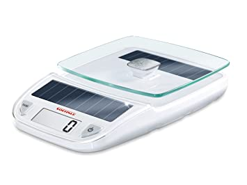 Leifheit 66183 Ksd Easy Solar - Báscula digital de cocina, color blanco