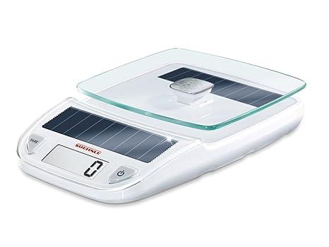 Leifheit 66183 Ksd Easy Solar - Báscula digital de cocina, color blanco