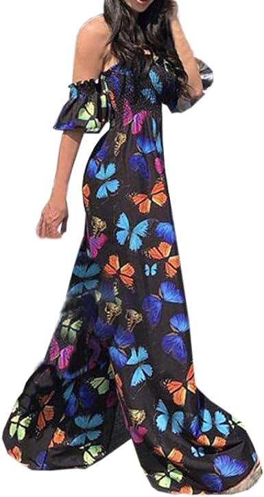 Womens Jumpsuit Romper Off The Shoulder Butterfly Floral Wide Leg