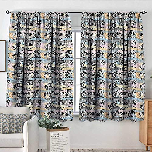 Theresa Dewey White Curtains Striped,Arch Shapes Curvy Tangled Lines Pattern Modern Geometrical Design in Pastel Colors, Multicolor,Decorative Curtains for Living Room and Bedroom 42