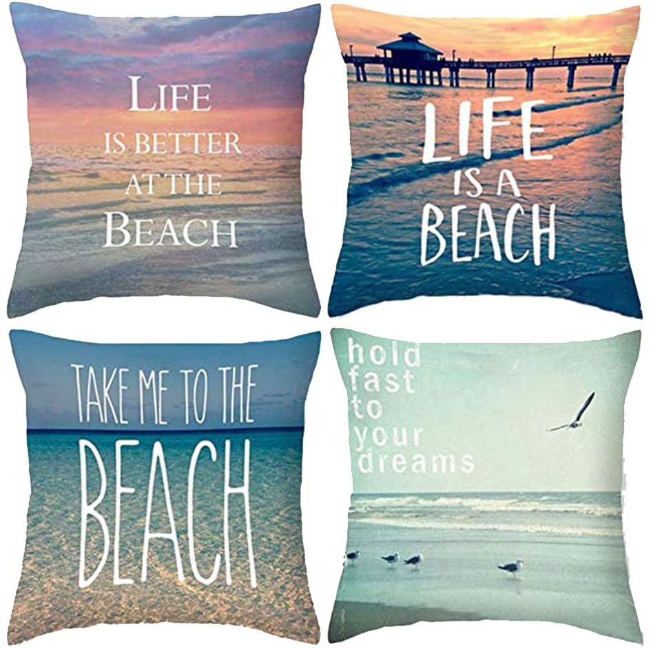 Royalours Throw Pillow Covers Sea Theme Decorative Pillow Covers Cotton Linen Summer Beach Decor Throw Pillowcases Cushion Cover 18 x 18 inch Set of 4 (Summer Beach)