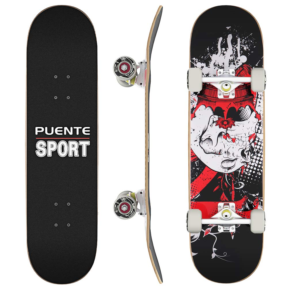 PUENTE Skateboard 9 Layer Canadian Maple Double Kick Skate Board for Extreme Sports and Outdoors