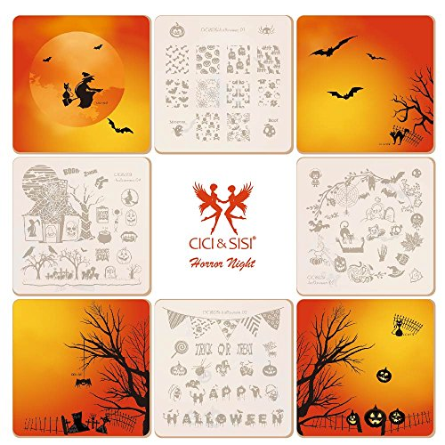 CICI&SISI Nail Art Stamping Plates Kit Holiday Halloween Stamp Plate Manicure Template 4 (Cici And Sisi Halloween)