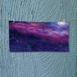 Nalahome Soft Luxury Towel Decor Spiritual Dim Star Clusters Milky Circle Back with Solar System Elements Purple Absorbent Ideal for Everyday use L27.5 x W13.8 inch