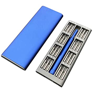 SODIAL Uso Diario Azul Kit Destornillador 25 Caja de Broca ...