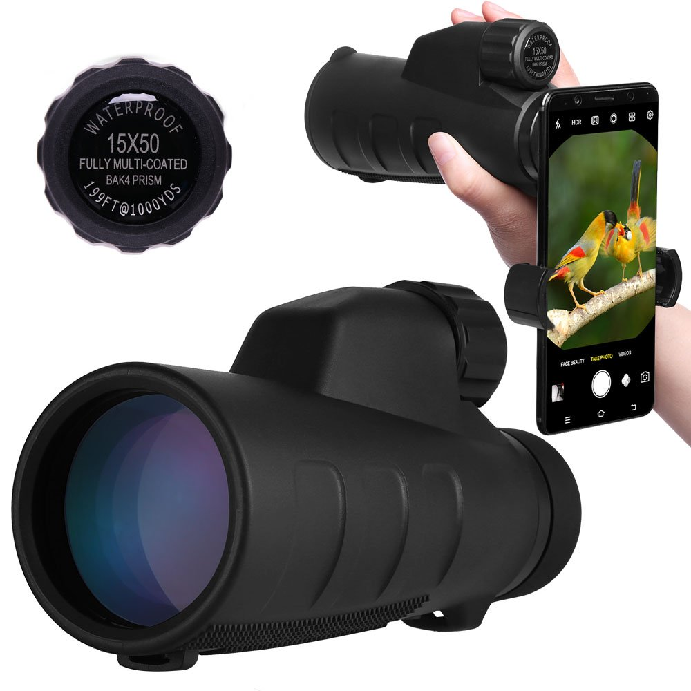 High Power Monocular Telescope 15X50 Monocular Scope with Tripod Smartphone Holder, HD Low Light Night Vision Scope, Waterproof Super Bright and Clear for Adults Bird Watching Wildlife MB15-1