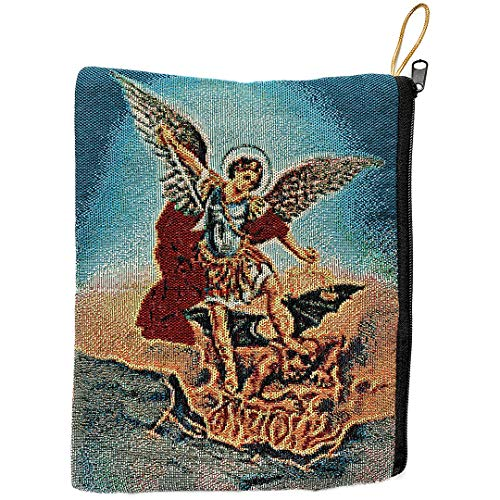 Religious Gifts Catholic Rosary Tapestry Pouch Archangel Michael Keepsake Case]()