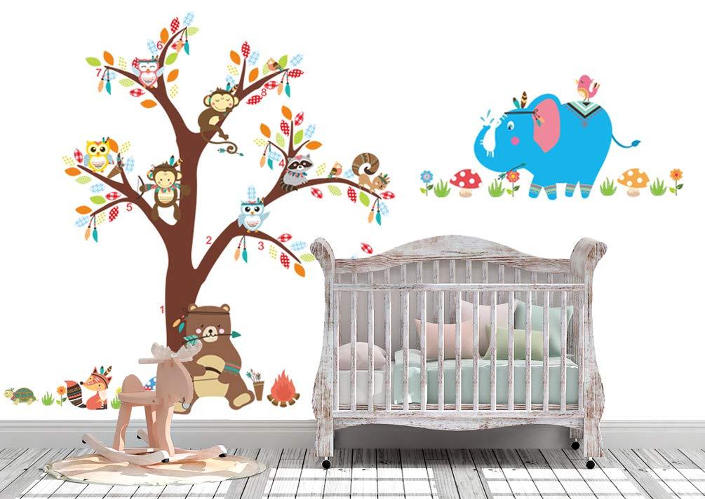 DEKOSH Kids Tribal Theme Peel & Stick Nursery Wall Decal | Colorful Decorative Bear Fox Owl Nursery Animal Wall Stickers for Children Bedroom, Playroom Mural