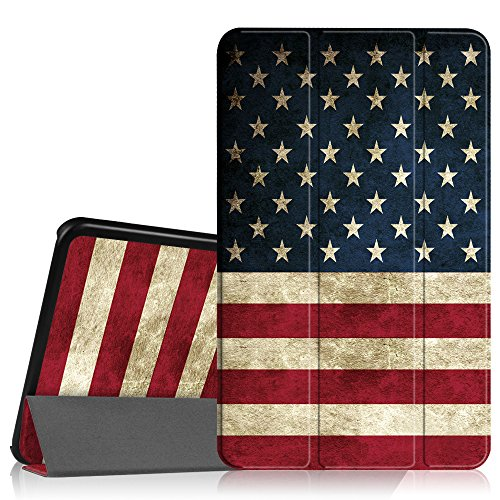 Price comparison product image Fintie Samsung Galaxy Tab A 10.1 Case,  Ultra Lightweight Protective Slim Shell Stand Cover with Auto Sleep / Wake Feature for Tab A 10.1 Inch (NO S Pen Version SM-T580 / T585 / T587) Tablet,  US Flag