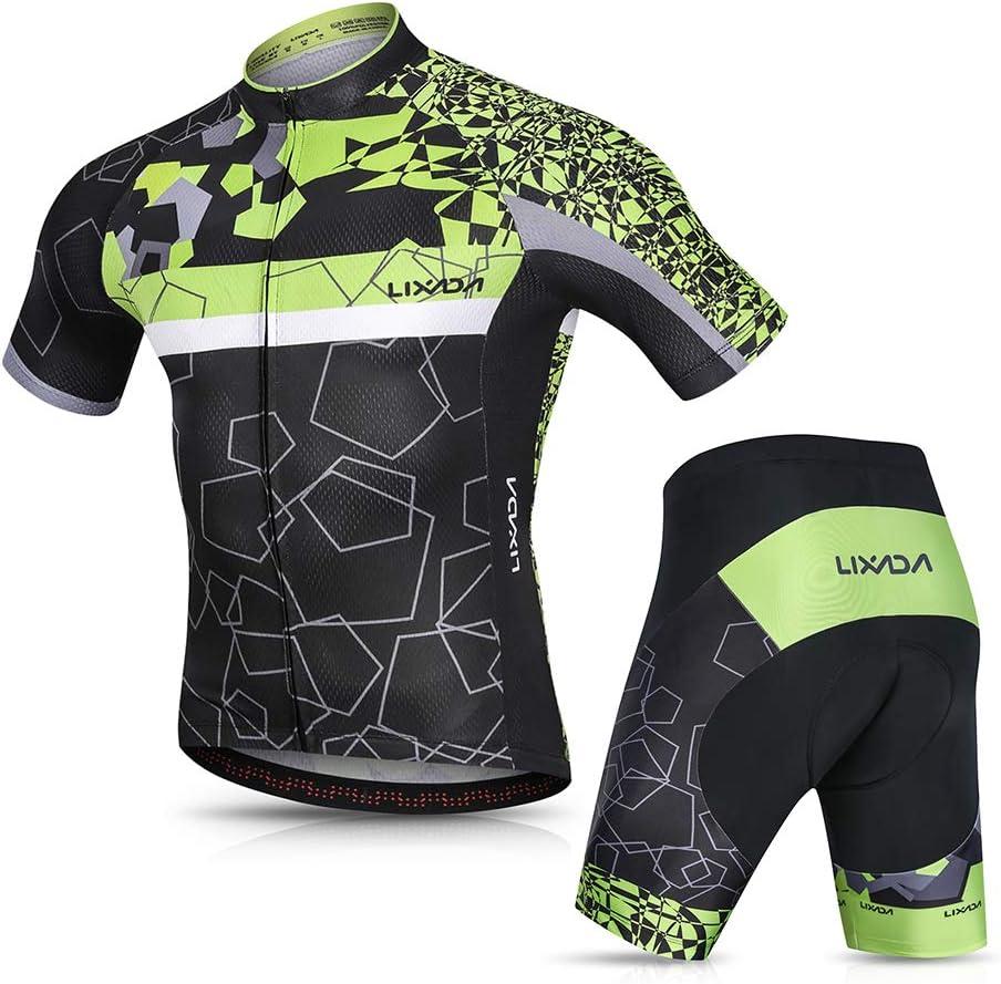 3D Cushion Shorts Gepolsterte Hose Lixada Herren Radtrikot Set Fahrrad Kurzarm Set Schnelltrocknend Atmungsaktives Shirt