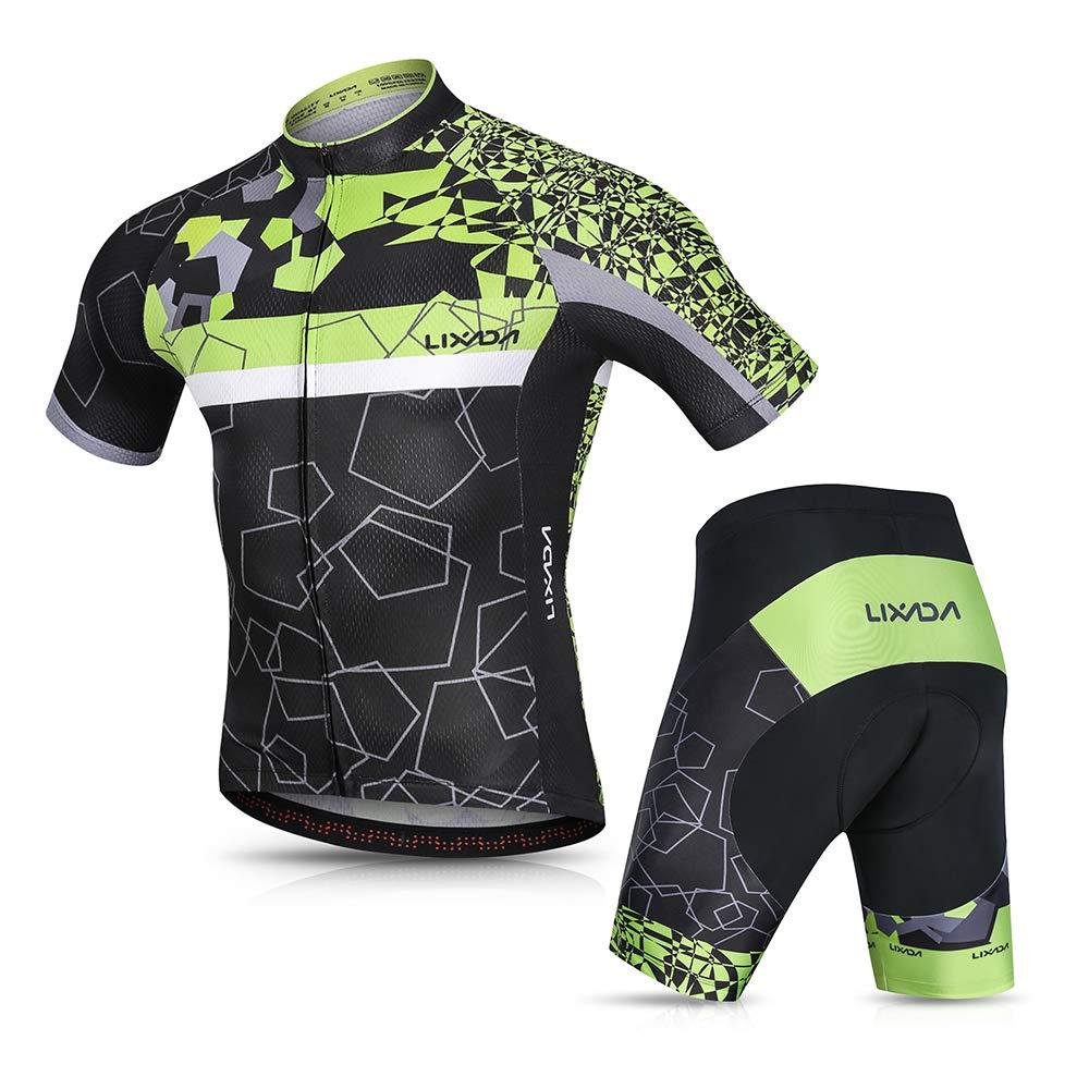 Men Cycling Bicycle Wear Short Sleeve Jersey Gel Pad Shorts Riding Bike Clothing