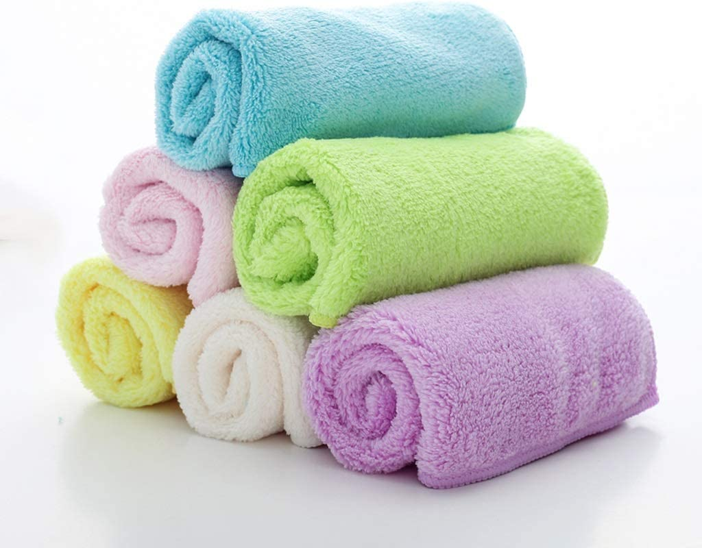 YSNBM Coral Velvet Wipe Floor Table Dishwashing Cloth Kitchen Living Room Bedroom Home Thickening Cleaning Cloth 6 Piece Set Anti-Grease