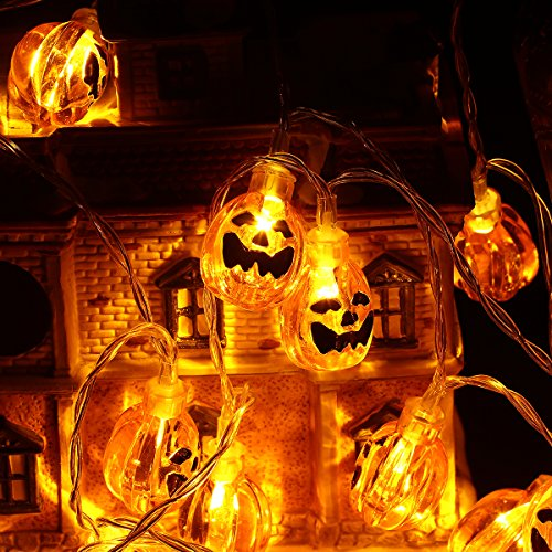 Halloween String Lights, YUNLIGHTS 13ft 30LEDs 3D Jack-O-Lantern Pumpkin Lights with Remote Control, 8 Modes Battery Operated Outdoor Halloween Lights, Warm White
