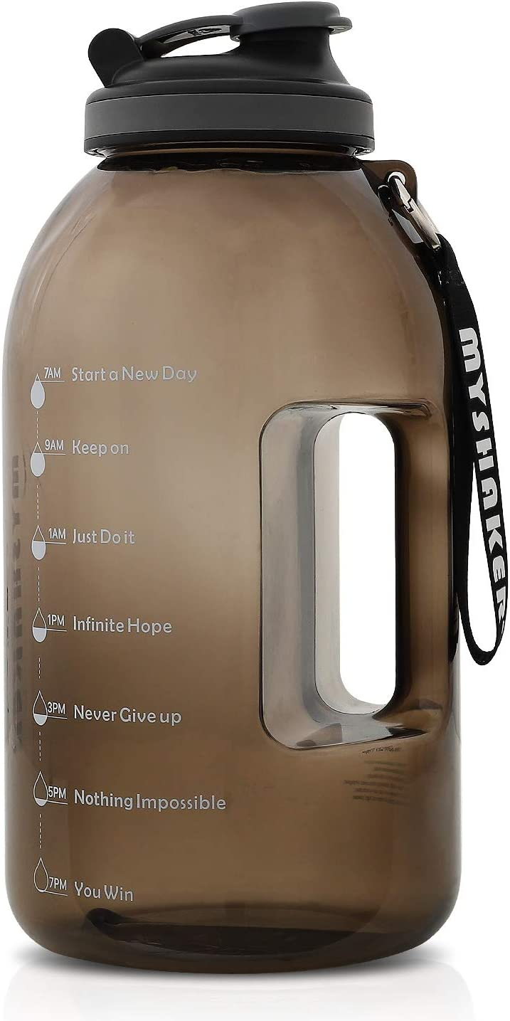 MYSHAKER 1 Gallon Water Bottle with Wide Mouth, Handle/Strap and Motivational Time Marker Reminder BPA Free Lightweight Reusable Drinking Wide Mouth Large Capacity Water Jug for Outdoor Sports Gym Hiking Fitness (Black)