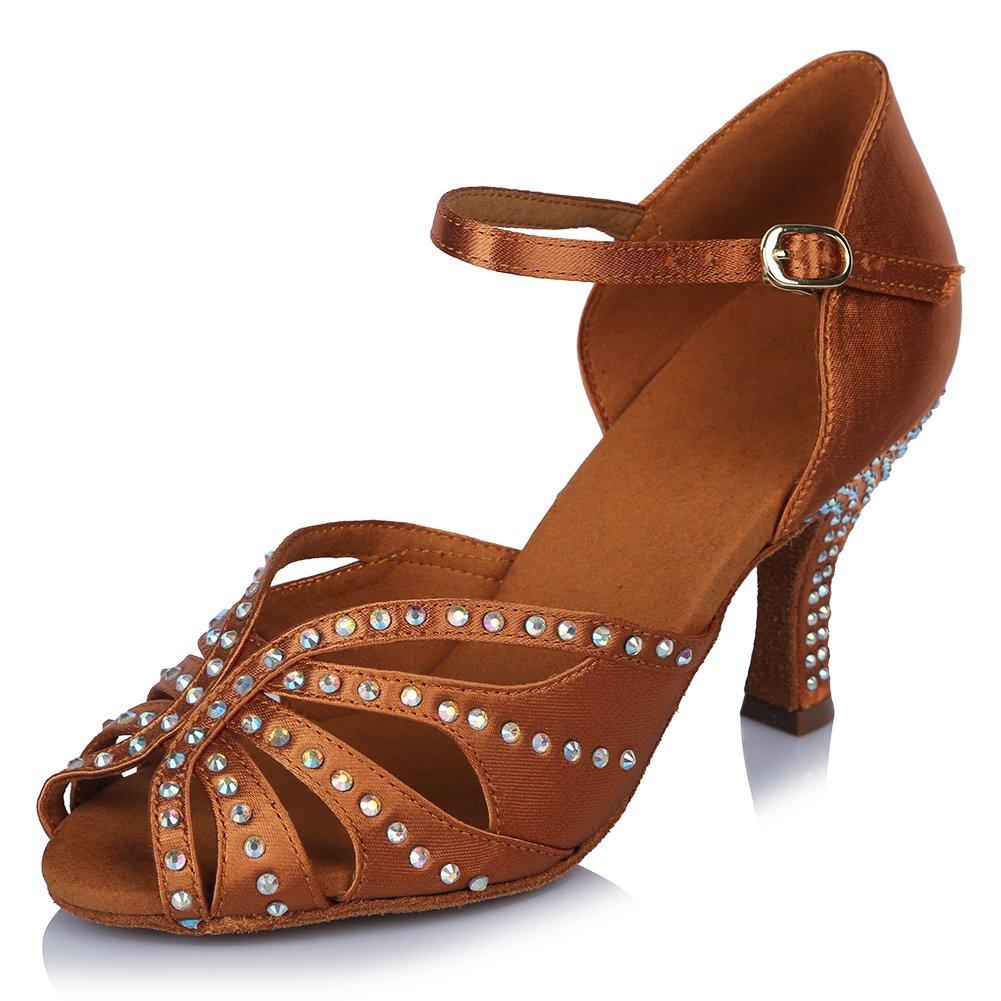 HIPPOSEUS Damen Mauml;dchen Sandalen Ausgestelltes Tanzschuhe/Ballsaal Standard Strasssteine Satin Latein Dance Schuhe,DEAF435  35 EU|Braun