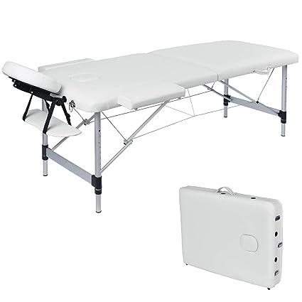 Wellhome Lettino Da Massaggio 2 Zone Alluminio Pieghevole Portatile