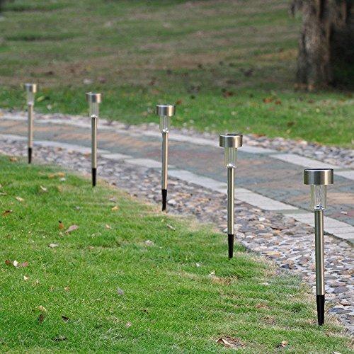 24 Outdoor Solar Power Stainless Steel LED Light Lawn Garden Landscape Path Lamp