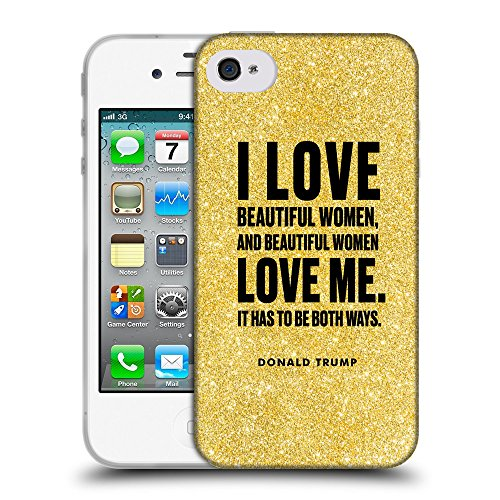 Super Galaxy Coque de Protection TPU Silicone Case pour // Q04040568 Donald Trump paillettes // Apple iPhone 4 4S 4G