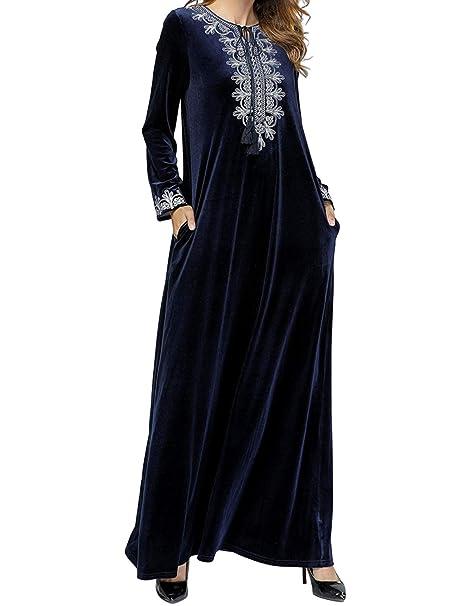 Qianliniuinc Donne Abaya Islamico Maxi Dress-Gonna Lunga Inverno Musulmano Abiti  Vestiti Taglie Forti Caldo 5513df60575