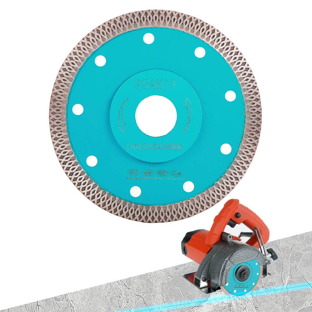 Peakit Fast Tile Diamond Blade 4.5 Inch Porcelain Tile Cutter Ceramic Cutting Disc Wheel for Dry Wet Tile Saw or grinder