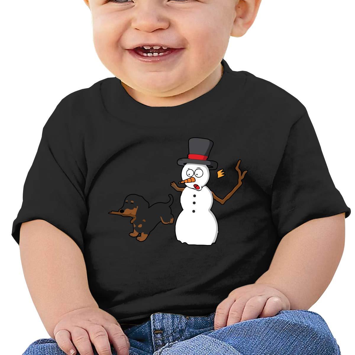 Dachshund Snowman Stick Arm Christmas Newborn Baby Newborn Short Sleeve T-Shirt 6-24 Month Cotton Tops