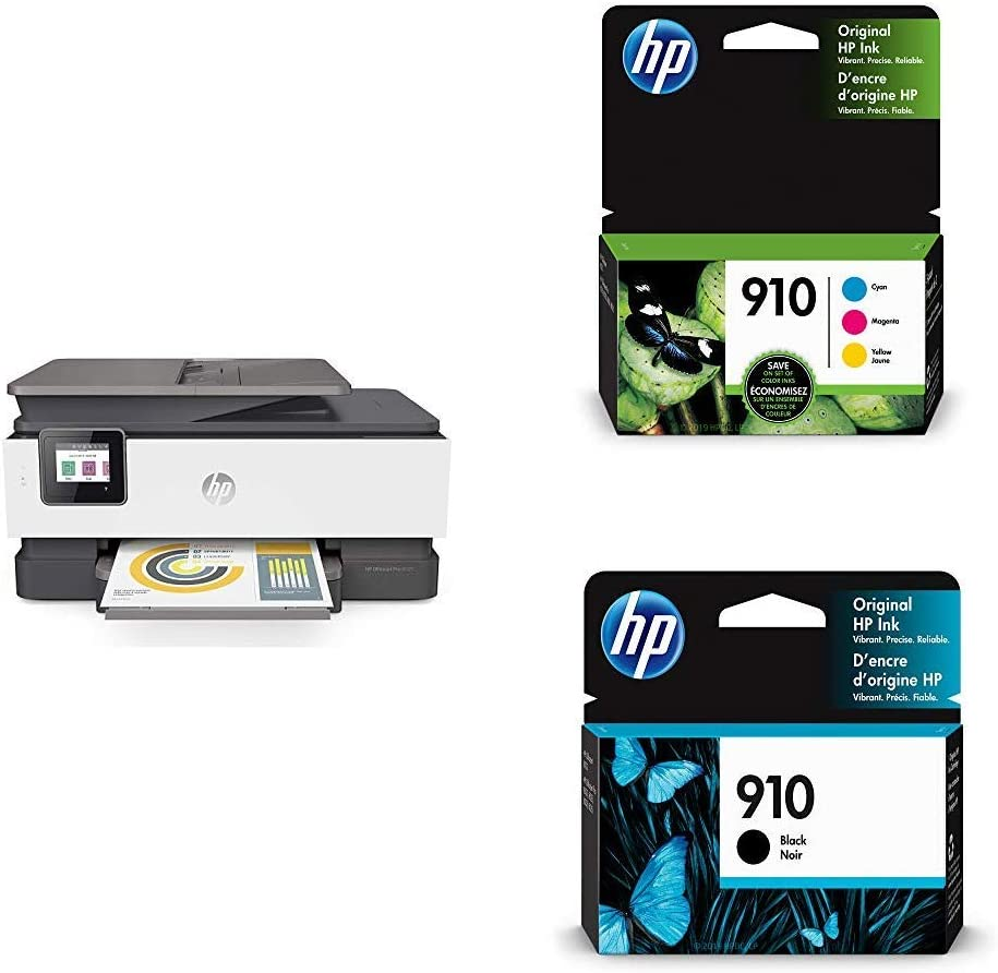 HP OfficeJet Pro 8025 All-in-One Wireless Printer, Smart Home Office Productivity (1KR57A) with Ink-Cartridges - 4 Colors