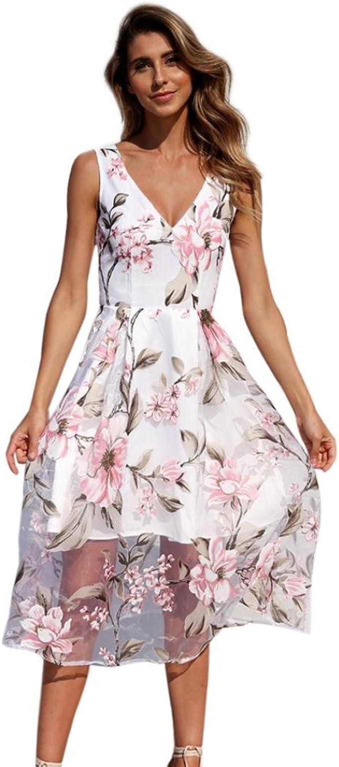 kingko® Sommerkleid Spitze Sexy V-Ausschnitt A-Linie Kleid Damen