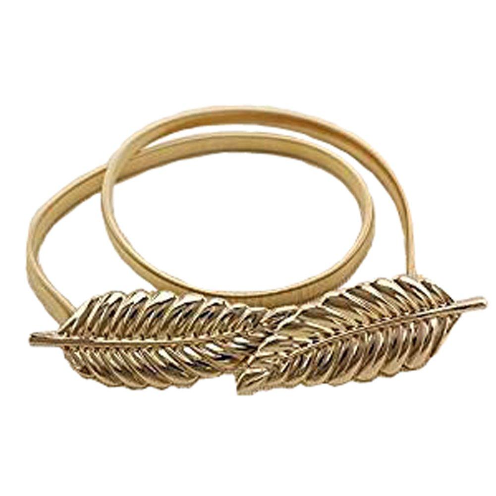 Cintura Foglie Vita elastica cinghia cinghia del vestito di metallo foglie di moda donne del cinturi...