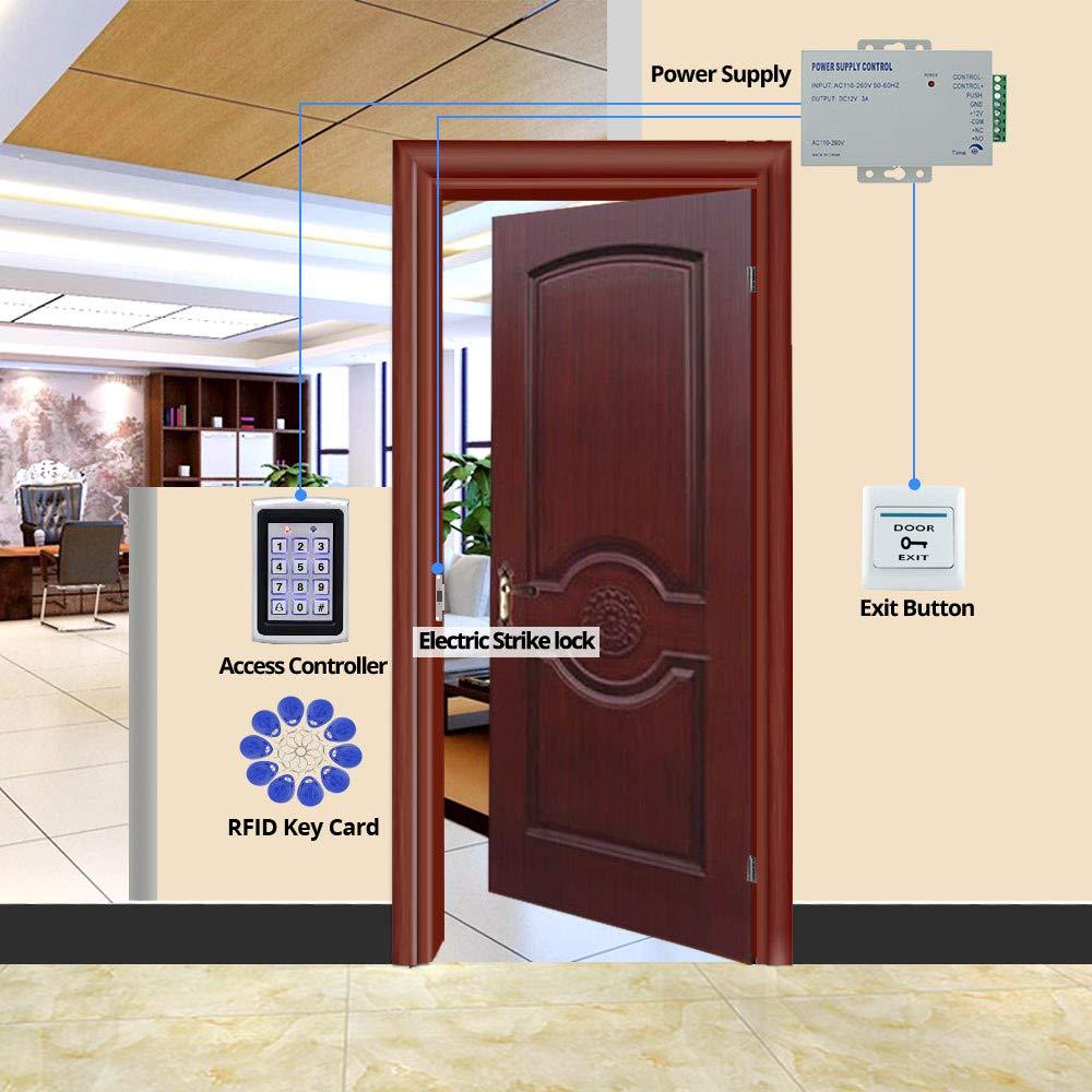 10pcs RFID Azul ID Llaves OBO HANDS Sistema de Control de Acceso al Hogar de Kit Controlador de Metal 1000 Usuarios Teclado 12V 3A Fuente de Alimentaci/ón Bot/ón de Salida de la Puerta 12V Bloqueo