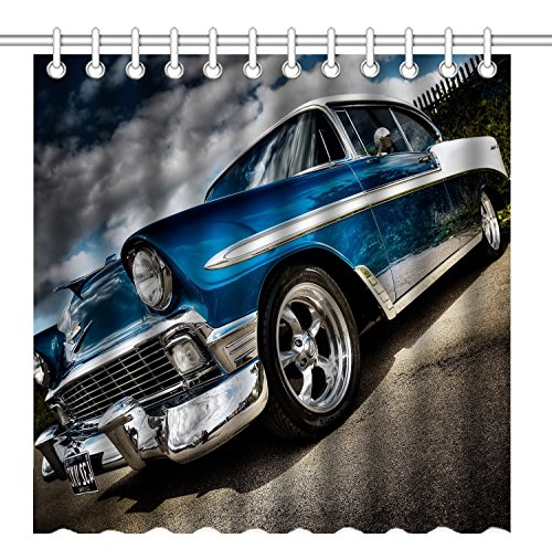 Wknoon 72 x 72 Inch Shower Curtain, Classic Blue and White Car, Waterproof Polyester Fabric Decorative Bathroom Bath Curtains
