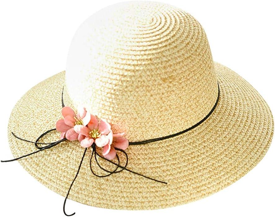 1e45e0dce FEDULK Womens Big Wide Brim Fedora Hat Summer Floppy Foldable Bow ...