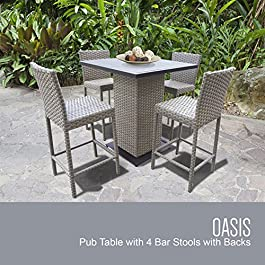 TK Classics Oasis Pub Table Set with Barstools 5 Piece Outdoor Wicker Patio Furniture, Grey Stone