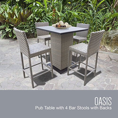 Cheap TK Classics Oasis Pub Table Set with Barstools 5 Piece Outdoor Wicker Patio Furniture, Grey Stone