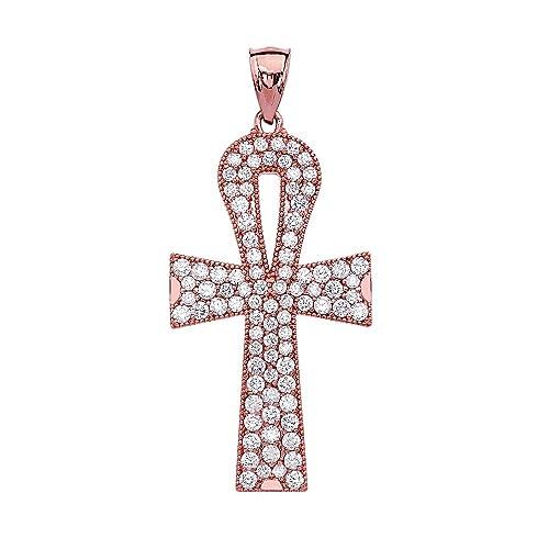 4c5435e5a0bb 10 ct oro rosa 5 quilates Ankh Circonita Colgante en forma de cruz collar  (viene