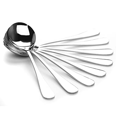 AmoVee Soup Spoons, Wholesale Stainless Steel Alpha Round Spoons, Set of 8