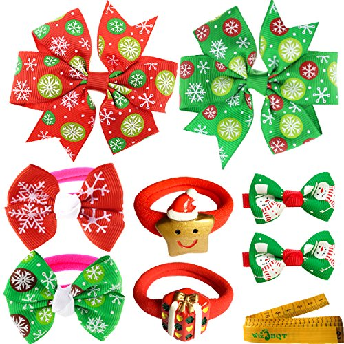 2 pairs of Dog Cat Pet Christmas Hair Clips and Hair Bands for Puppy Kitten Small Dogs Cats Pets