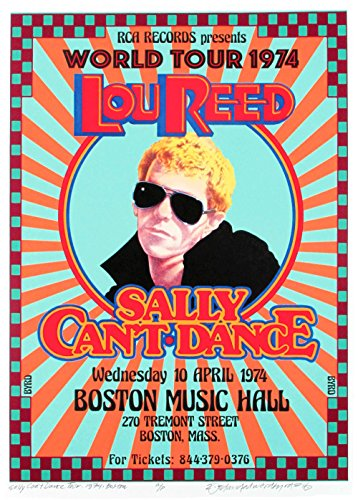 Lou Reed 1974 Sally Can't Dance World Tour Poster NEW Hand-Signed by David Byrd Includes COA