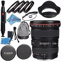 Canon EF 17-40mm f/4L USM Lens 8806A002 + 77mm Macro Close Up Kit + Lens Cleaning Kit + Lens Pen Cleaner + Fibercloth Bundle