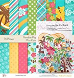 Paradise Set - Matching Die Cuts & Paper Kit by Miss Kate Cuttables - 16 Single - Sided 12''x12'' Cardstock Sheets & Over 60 Coordinating Die Cuts