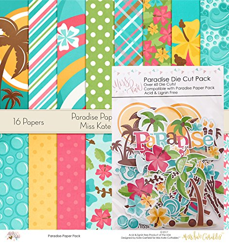 Paradise Set - Matching Die Cuts & Paper Kit by Miss Kate Cuttables - 16 Single - Sided 12''x12'' Cardstock Sheets & Over 60 Coordinating Die Cuts by Miss Kate Cuttables