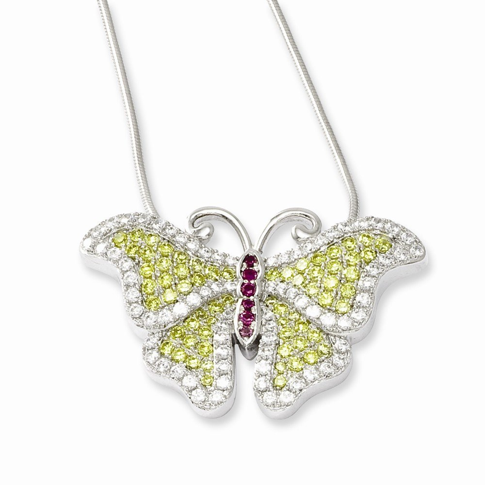Sterling Silver CZ Brilliant Embers Butterfly Necklace 20x31mm 18 Inches